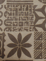 Beige Hand Block Printed Cotton  Cambric Fabric Per Meter - F0916048