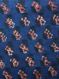 Indigo Rust Green White Hand Block Printed Cotton Fabric Per Meter - F001F1388