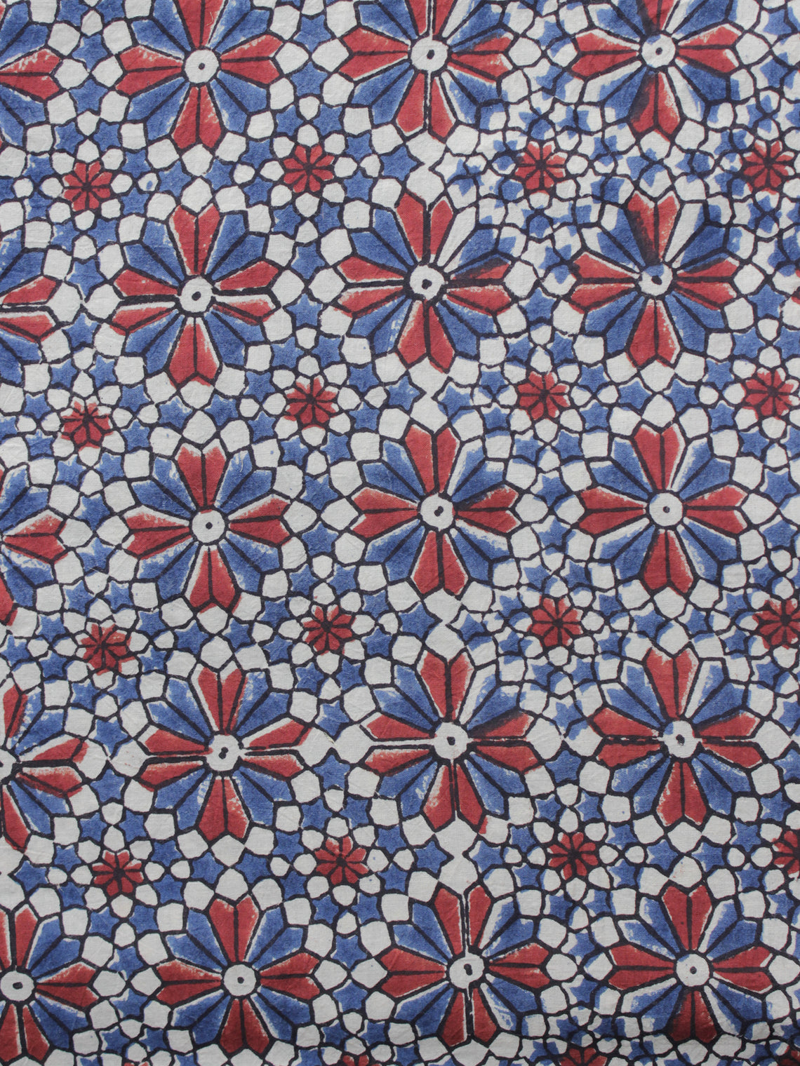 Ivory Red Blue Ajrakh Printed Cotton Fabric Per Meter - F003F1212
