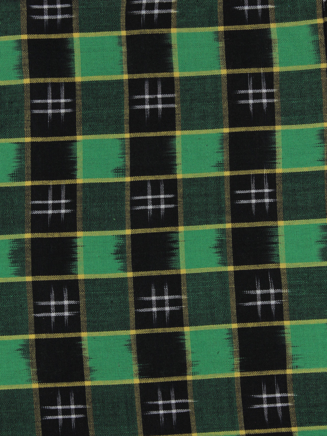 Green Black Ivory Pochampally Hand Weaved Double Ikat Fabric Per Meter - F091F767