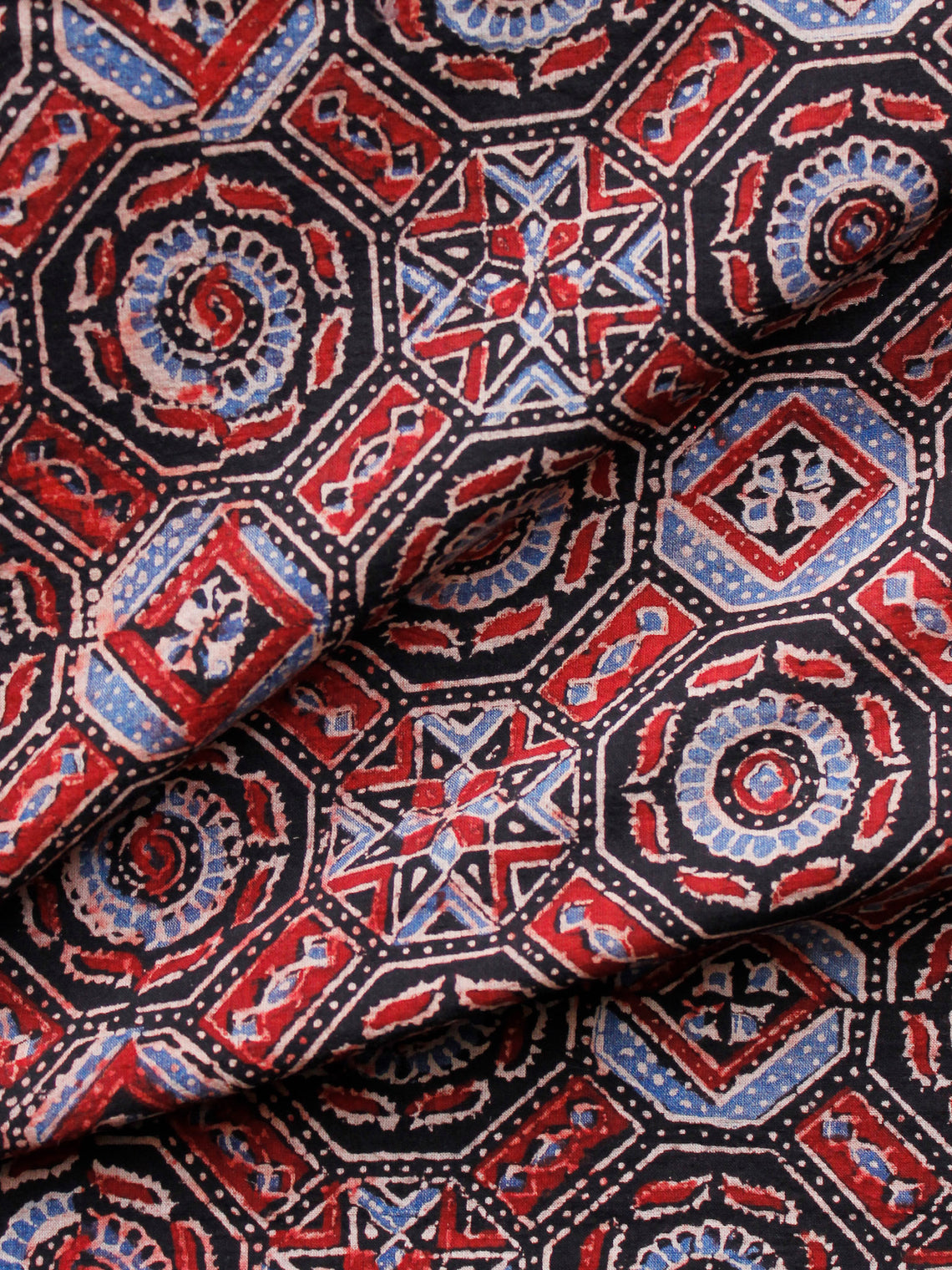 Black Maroon Blue Ivory Ajrakh Hand Block Printed Cotton Fabric Per Meter - F003F1632