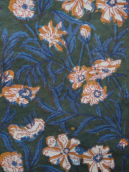 Green Mustard Blue Ivory Hand Block Printed Cotton Fabric Per Meter - F001F1389