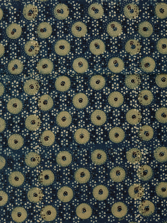 Indigo Green Ivory Black Ajrakh Hand Block Printed Cotton Fabric Per Meter - F003F1792