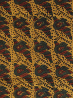 Mustard Bottle Green Maroon Ajrakh Hand Block Printed Cotton Fabric Per Meter - F003F2110