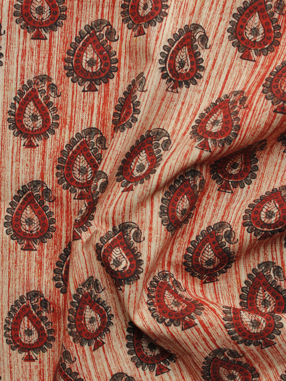 Maroon Beige Black Hand Block Printed Cotton Fabric Per Meter - F001F1104