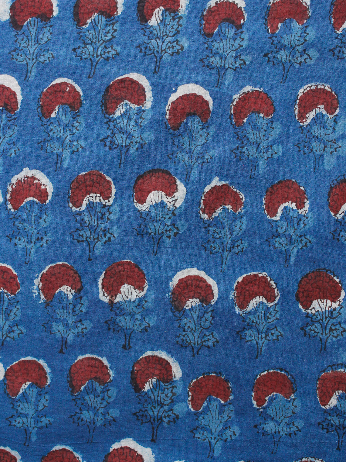 Indigo Brown Black Hand Block Printed Cotton Fabric Per Meter - F001F1336