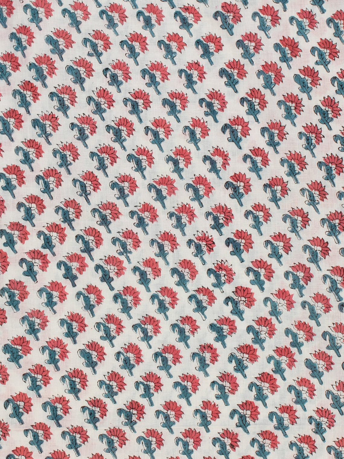 White Teal Coral Hand Block Printed Cotton Fabric Per Meter - F001F2344