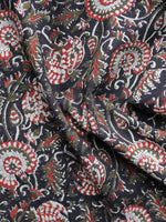 Black Red Brown Ivory Hand Block Printed Cotton Fabric Per Meter - F003F1219