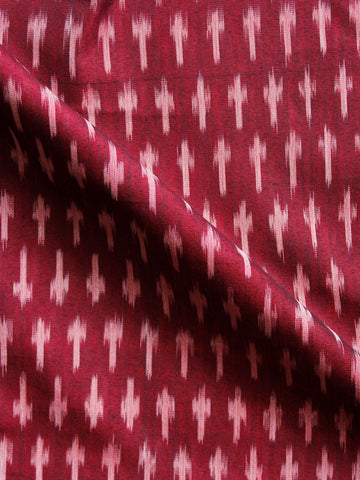 Maroon Ivory Hand  Weaved Ikat Mercerised  Fabric Per Meter - F002F1407