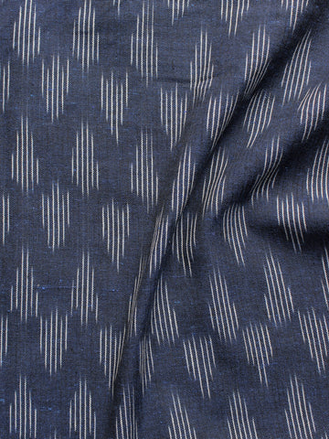 Blue White Pochampally Hand Woven Ikat Fabric Per Meter - F002F940