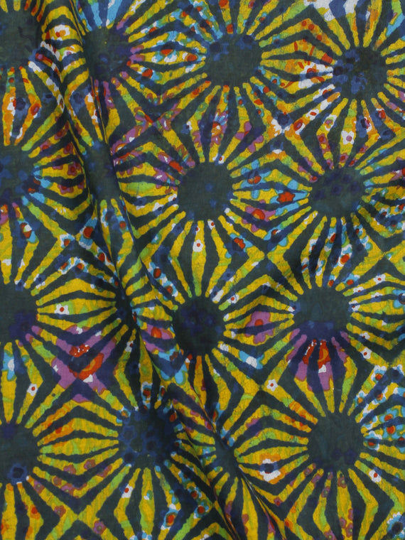 Yellow Green Multi Color Hand Block Printed Cotton Fabric Per Meter - F001F773