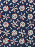 Indigo Ivory Red Ajrakh Hand Block Printed Cotton Fabric Per Meter - F003F2111