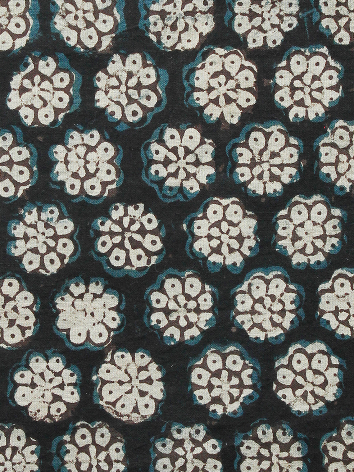 Black Brown Ivory Turquoise Hand Block Printed Cotton Fabric Per Meter - F001F1390