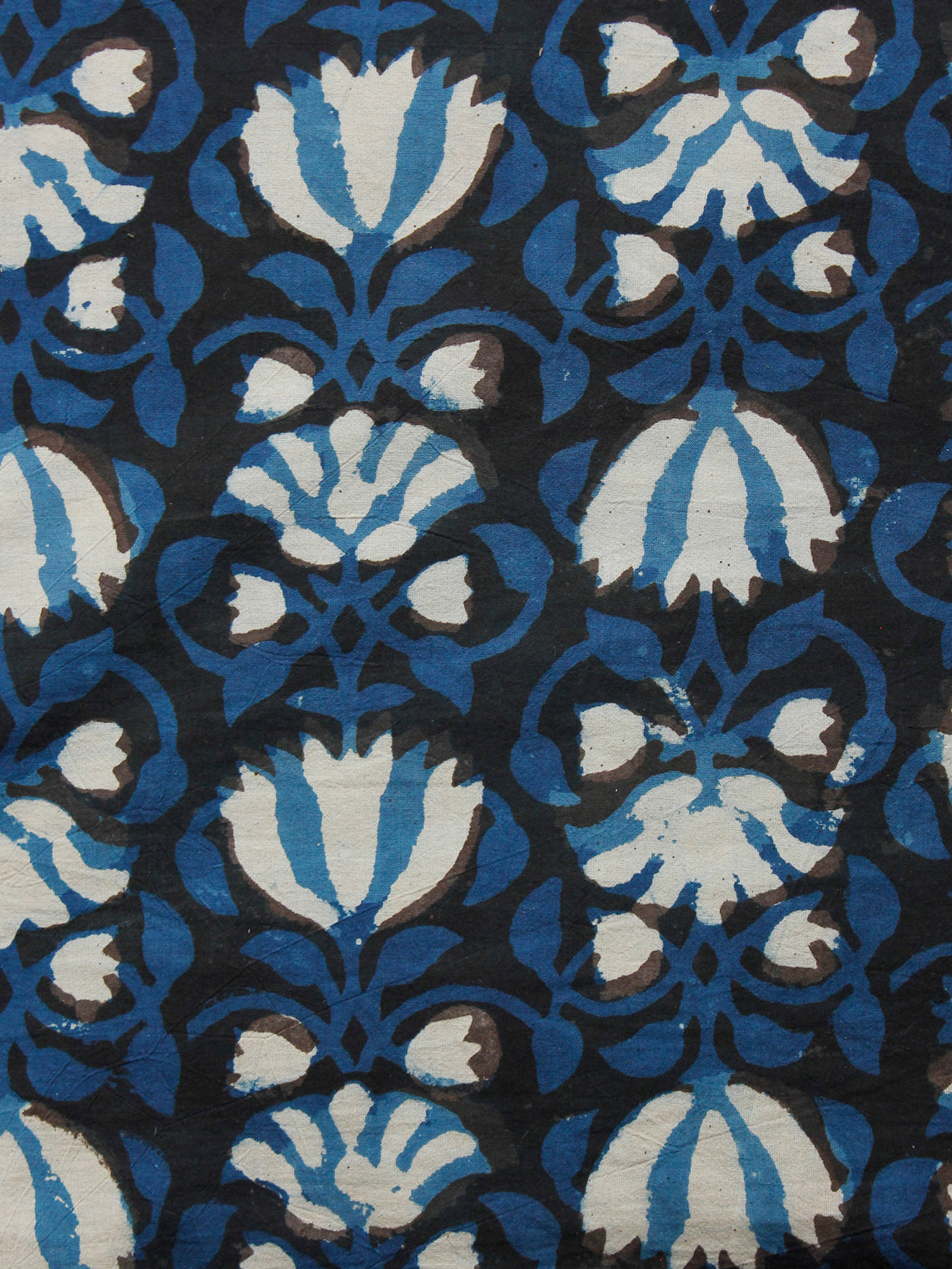 Black Indigo Ivory Hand Block Printed Cotton Fabric Per Meter - F001F1391