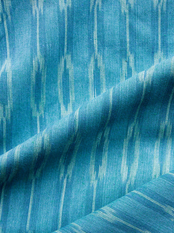 Azure Blue Ivory Pochampally Hand Woven Ikat Cotton Fabric Per Meter - F002F1462