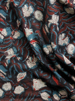 Black Brown Blue Ivory Hand Block Printed Cotton Fabric Per Meter - F001F1392
