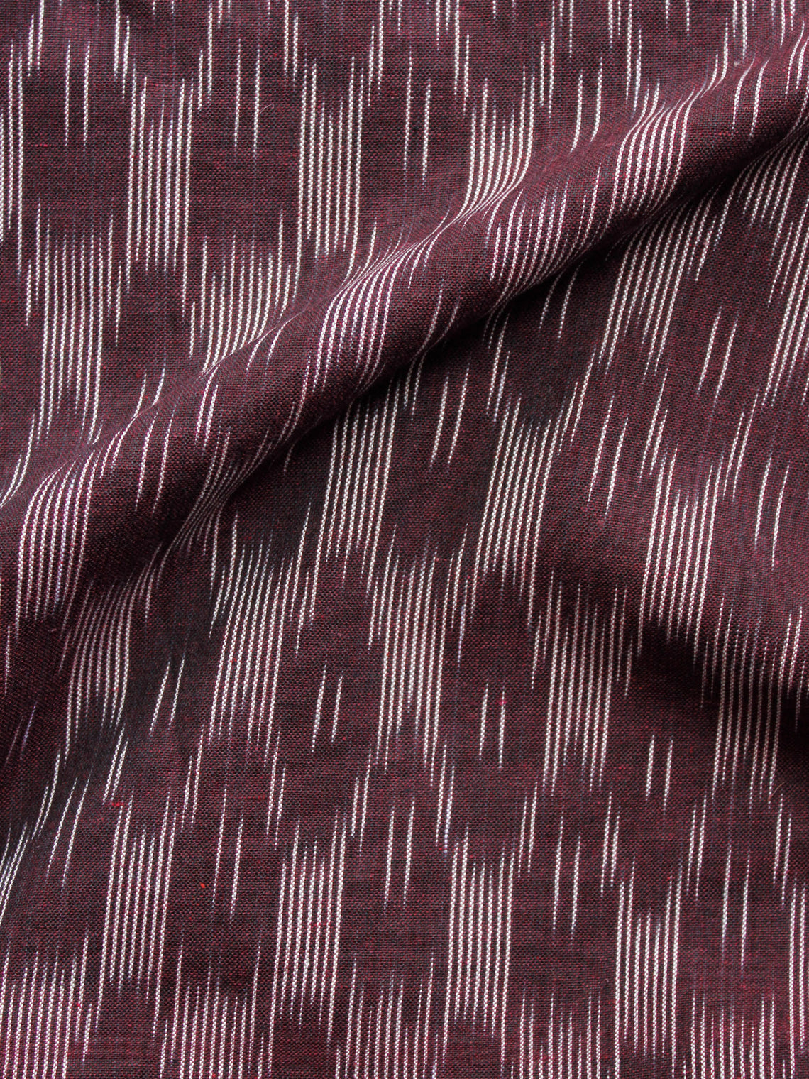Maroon Ivory Pochampally Hand Woven Ikat Cotton Fabric Per Meter - F002F1463