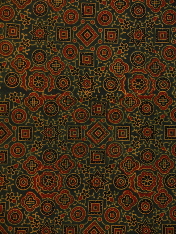 Green Maroon Black Ajrakh Hand Block Printed Cotton Fabric Per Meter - F003F1796