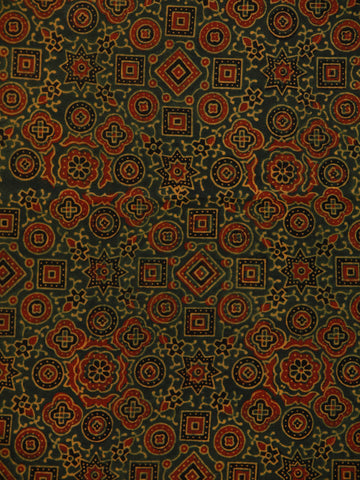 Green Maroon Black Beige Ajrakh Hand Block Printed Cotton Fabric Per Meter - F003F1796
