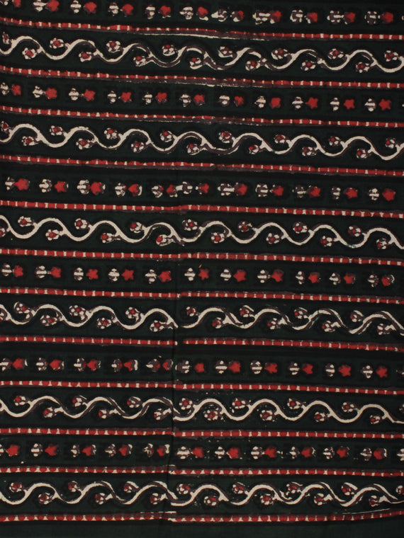 Bottle Green Ivory Red Ajrakh Hand Block Printed Cotton Fabric Per Meter - F003F2114