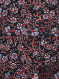 Black Red Blue Ivory Ajrakh Hand Block Printed Cotton Fabric Per Meter - F003F1637