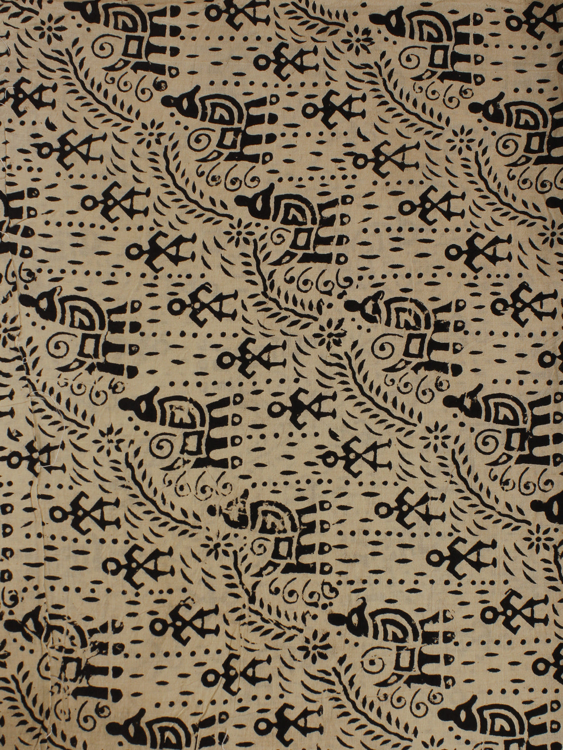 Beige Black Hand Block Printed Cotton  Cambric Fabric Per Meter - F0916060