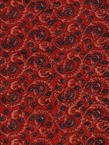 Red Indigo Beige Ajrakh Hand Block Printed Cotton Fabric Per Meter - F003F1798
