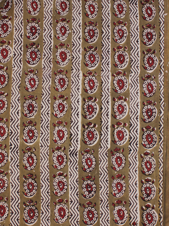 Light Brown Red Ivory Ajrakh Hand Block Printed Cotton Fabric Per Meter - F003F2115