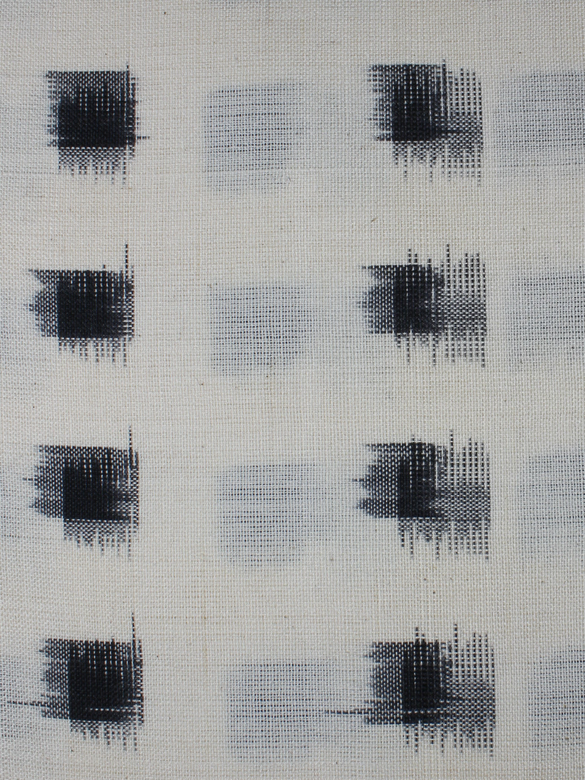 White Black Pochampally Hand Weaved Double Ikat Fabric Per Meter - F0916661
