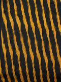 Black Yellow Hand Woven Ikat Handloom Cotton Fabric Per Meter - F002F1467
