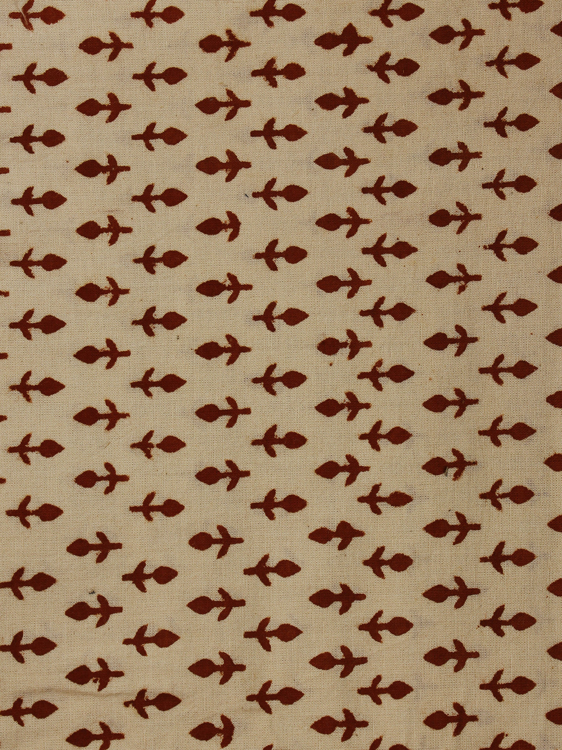 Beige Red Hand Block Printed Cotton  Cambric Fabric Per Meter - F0916061