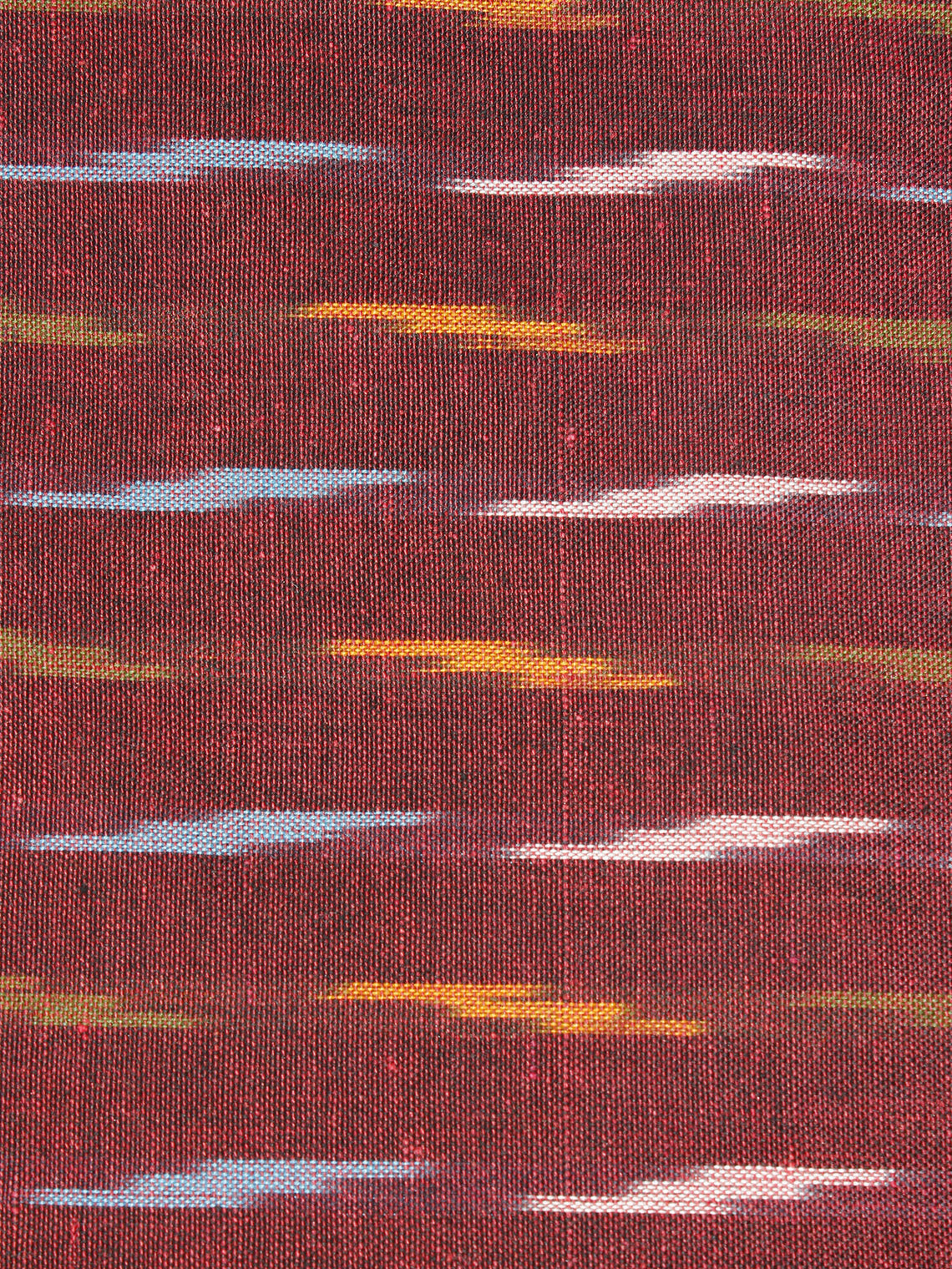 Maroon Multi Color Pochampally Hand Weaved Ikat Fabric Per Meter - F0916668