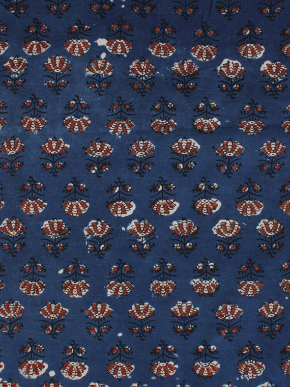 Indigo Ivory Red Ajrakh Hand Block Printed Cotton Fabric Per Meter - F003F2117