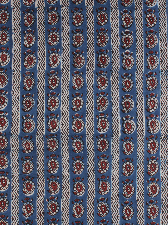 Indigo Ivory Red Ajrakh Hand Block Printed Cotton Fabric Per Meter - F003F2120