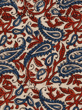Beige Red Black Blue Ajrakh Hand Block Printed Cotton Fabric Per Meter - F003F1801