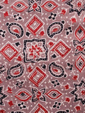 Light Brown Red Black Ivory Ajrakh Hand Block Printed Cotton Fabric Per Meter - F003F1642