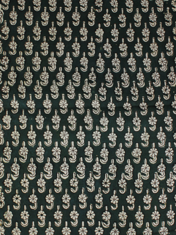 Bottle Green Ivory Ajrakh Hand Block Printed Cotton Fabric Per Meter - F003F2119