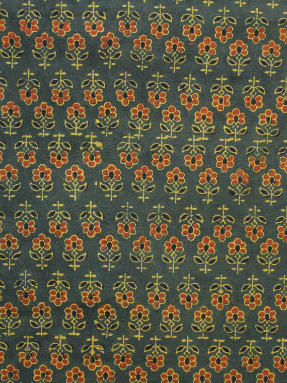 Green Yellow Rust Black Ajrakh Hand Block Printed Cotton Blouse Fabric - BPA091