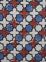 Beige Red Blue Ajrakh Printed Cotton Fabric Per Meter - F003F1163