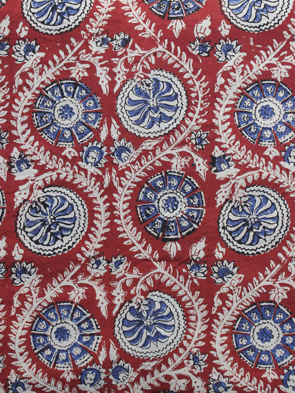 Red Ivory Indigo Hand Block Printed Cotton Fabric Per Meter - F001F1151
