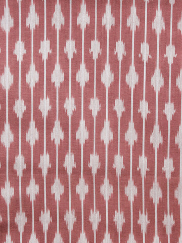 Maroon Ivory Pochampally Hand  Weaved Ikat Mercerised  Fabric Per Meter - F002F1408