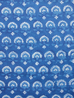 Indigo White Hand Block Printed Cotton Fabric Per Meter - F001F1726
