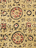 Peanut Brown Red Black Ajrakh Hand Block Printed Cotton Fabric Per Meter - F003F1581