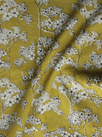 Mustard Yellow Ivory Black Hand Block Printed Cotton Fabric Per Meter - F003F1307