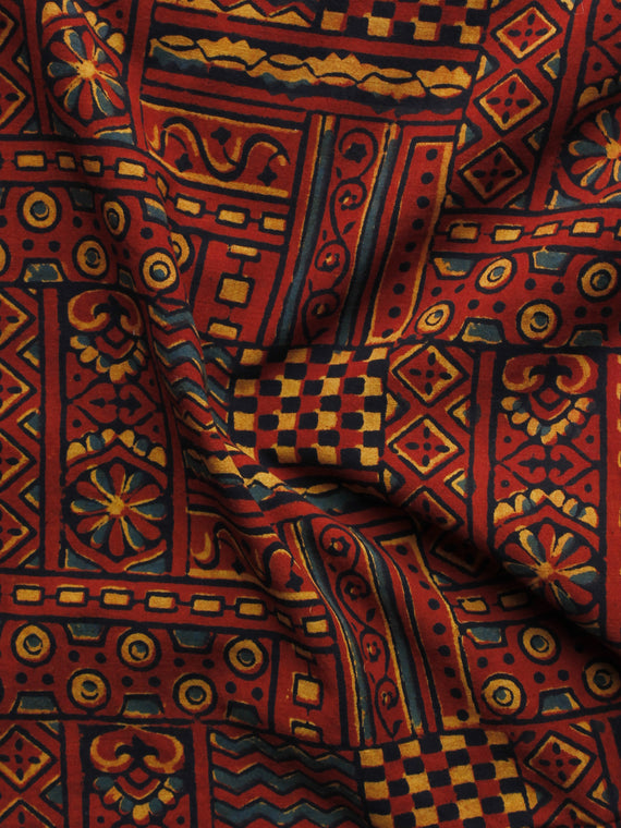Maroon Black Green Yellow Ajrakh Hand Block Printed Cotton Blouse Fabric - BPA007