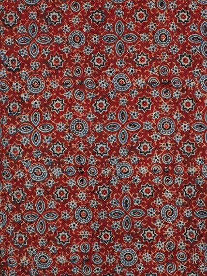 Red Indigo Black Ajrakh Hand Block Printed Cotton Fabric Per Meter - F003F2122