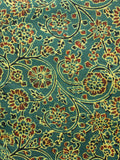 Green Maroon Yellow Black Ajrakh Hand Block Printed Cotton Fabric Per Meter - F003F1644