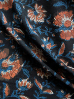 Black Indigo Brown Hand Block Printed Cotton Fabric Per Meter - F001F1399
