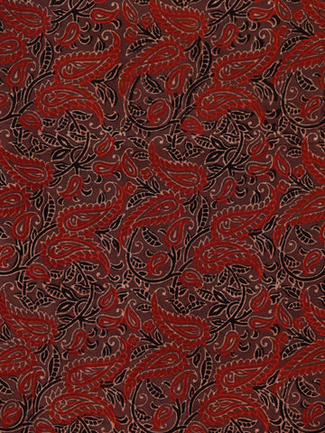 Brown Black Rust Beige Ajrakh Hand Block Printed Cotton Fabric Per Meter - F003F1804