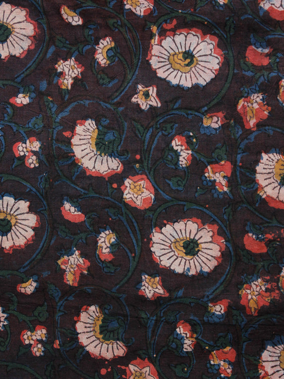 Brown Green Blue Ivory Hand Block Printed Cotton Fabric Per Meter - F001F1400